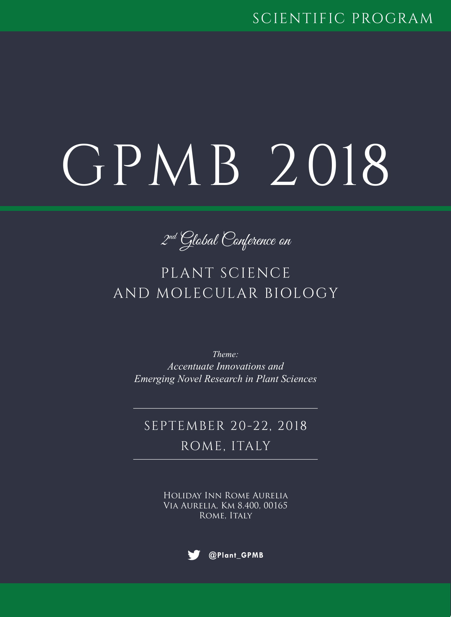 2nd Edition of Global Conference on Plant Science and Molecular Biology | Rome, Italy Program