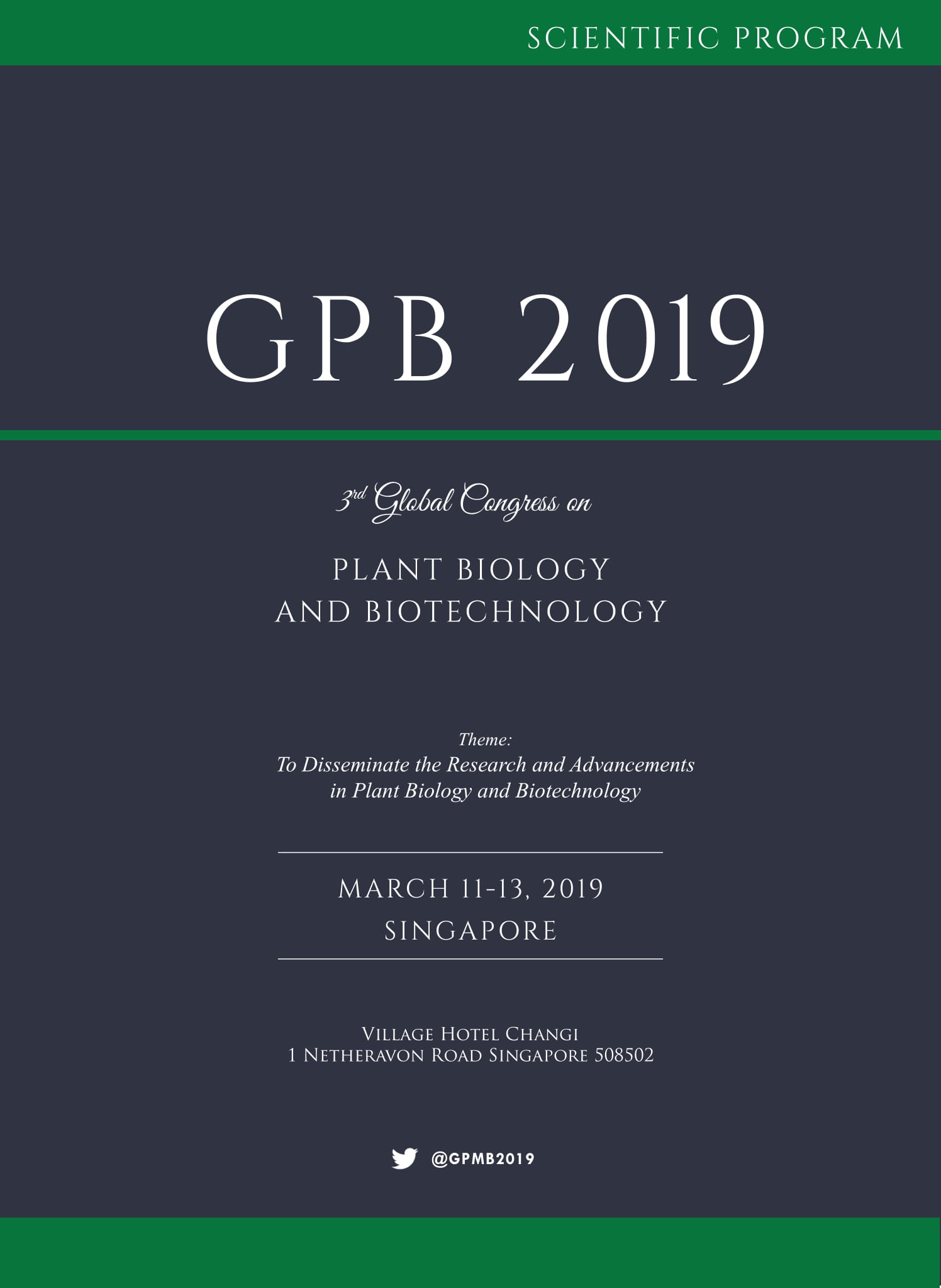 3rd Global Congress on Plant Biology and Biotechnology | Singapore Program